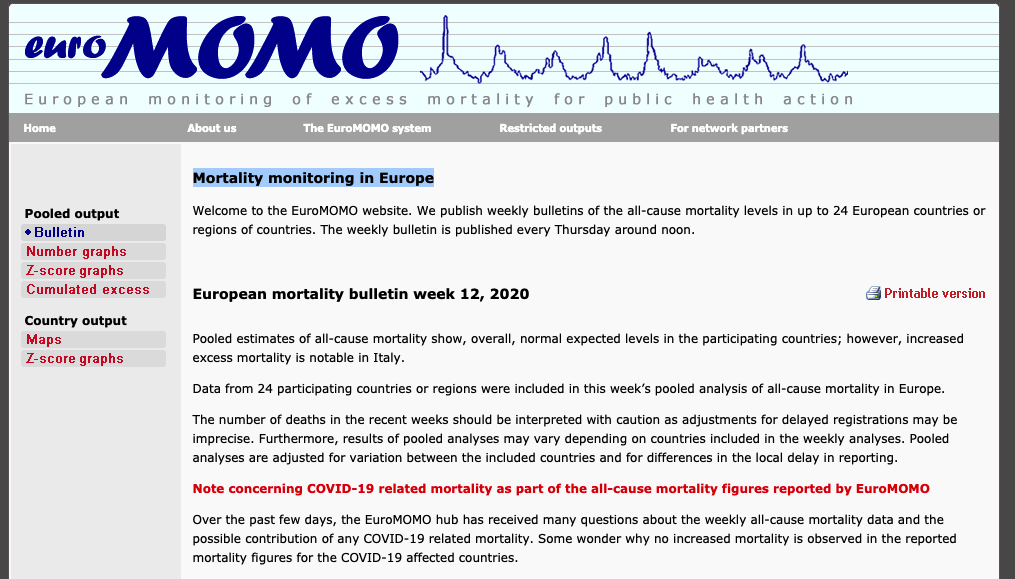 Mortality monitoring in Europe EUROMOMO