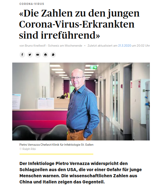"Interview with swiss epidemiologist Pietro Vernazza: ""The figures for the corona virus of young sick people are misleading"""