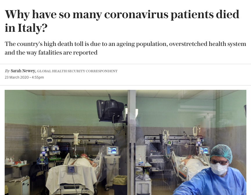 ITALY – On re-evaluation by the National Institute of Health, only 12 per cent of death certificates have shown a direct causality from coronavirus = 1'380 coronavictims and not 11'500.